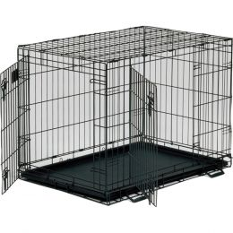 Midwest Container Black Life Stages 2dr Crate W/panel 36x24x27 In
