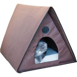 K & H Chocolate Outdoor Heated Multi-kitty A-frame 20 Inches