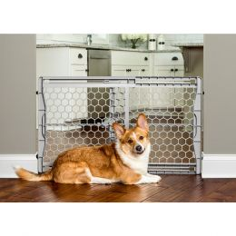 Carlson Pet Gray Plastic Expandable Gate W/ Steel Support Rod 23 Inch