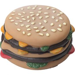 Ethical Multi-colored Vinyl Hamburger With Tomato & Pickle Dog Toy 4 In