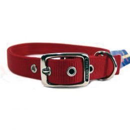 Hamilton Red Double Thick Nylon Dog Collar 1x26 In