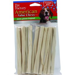 Pet Factory Natural American Beefhide Twist Sticks 5 Inch/10 Pack