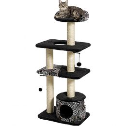 Midwest Homes For Pets Black/white Feline Nuvo Tower Cat Furniture 22 X 15 X 51