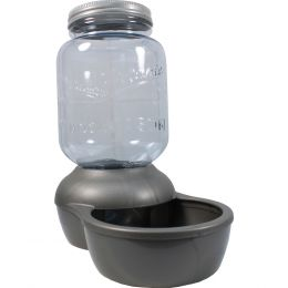 Petmate Clear/silver Mason Jar Replendish Dry Food Feeder 5 Pound