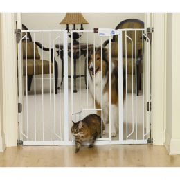 Carlson Pet White Extra Tall Walk-thru Pet Gate With Pet Door 29-52wx41h In