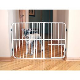 Carlson Pet Beige Tuffy Expandable Pet Gate With Door 26-42wx24h In