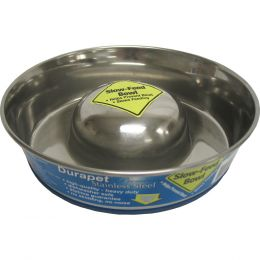 Ourpets Stainless Steel Slow Feed Stainless Steel Bowl Medium