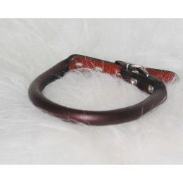 Hamilton Burgundy Rolled Leather Collar 1/2 X 14 In