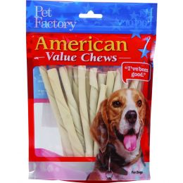 Pet Factory Natural American Beefhide Twist Sticks Value Pack 5 Inch/25 Pack