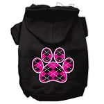 Argyle Paw Pink Screen Print Pet Hoodies (Color: Black, size: Small)