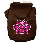 Argyle Paw Pink Screen Print Pet Hoodies (Color: Brown, size: Small)