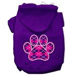 Argyle Paw Pink Screen Print Pet Hoodies (Color: Purple, size: Small)