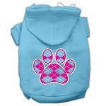 Argyle Paw Pink Screen Print Pet Hoodies (Color: Baby Blue, size: Small)